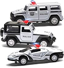 Top Race Metal Diecast Police Cars Pull Back Battery Powered with Lights and Sirens 1:32 Scale Set of 3