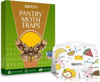 DeMoth Effective Pantry Moth Traps 6-Pack – Safe Odor-Free Eco-Friendly Food Moth Traps with Natural Pheromone Attractant for Kitchen Pantries – Fast Result Guaranteed – No Pesticides & Insecticides