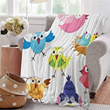 Luoiaax Bird Comfortable Large Blanket Funny Happy Cute Colorful Birds and Sun in Cartoon Style Toddler Kids Nursery Theme Microfiber Blanket Bed Sofa or Travel W80 x L60 Inch Multicolor