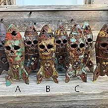 Holmeey Halloween schedel decoratie, handgemaakte hars schedelbommen decoraties met graffiti en Atom-logo's, Spukhaus rekw...