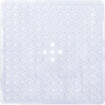 Ruiuzioong Square Alfombrillas de baño Antideslizante Alfombrillas para Ducha de Goma,Resistente al Moho Alfombrillas para bañera con Ventosa ,Lavable en la Lavadora, transparente, 53cm*53cm