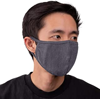 Aulin� Collection Made in USA Cotton Fabric Washable Reusable Filter Pocket Face Mask, Heather Charcoal 1 PK