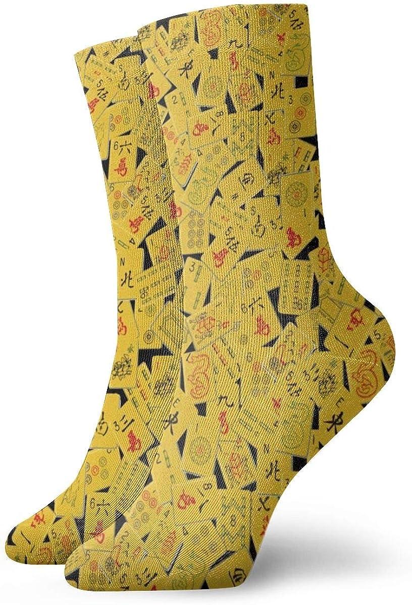 Casual Socks With Abstract Yellow Mahjong Print, Cotton Crew Socks For Men Women