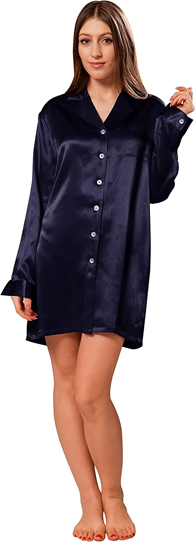 ElleSilk Women's Silk Sleep Shirt, Silk Sleepwear, Premium Quality Mulberry Silk