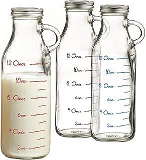 Style Setter Set of 3 Glass Milk Bottles-Red, Blue, black, Clear