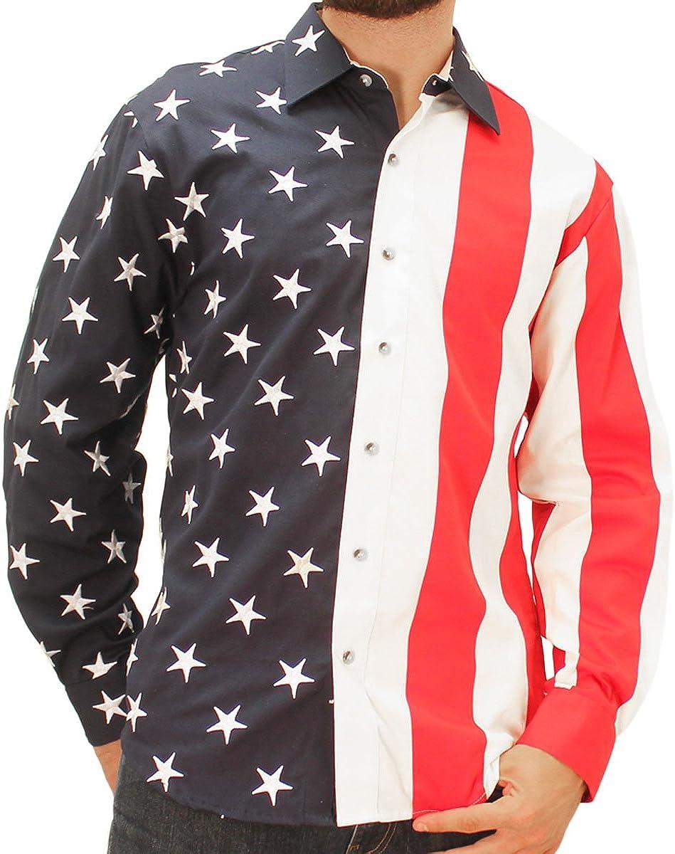 American Dallas Mall Summer US Flag Long Sleeve High order Sport Shirt Woven