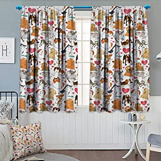 Dog Lover Room Darkening Curtains Cartoon Canines Bullterrier Doberman Husky Spaniel Love Theme Funny Characters Customized Curtains 55