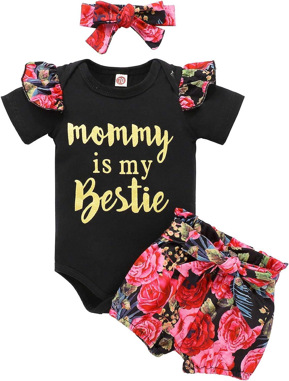 Newborn Baby Girl Clothes Short Sleeve Romper+Shorts+Headband Summer Outfit Set