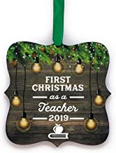 First Christmas As Teacher 2019 Ornament 1st Holiday Teaching Keepsake with Free Gift Box, Made in the USA