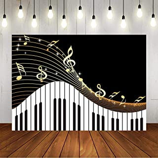 Piano Theme Backdrop for Photography Golden Musical Notes and Piano Keyboard Background for Kids Birthday Party Art Studio Photo Banner Props 7x5ft