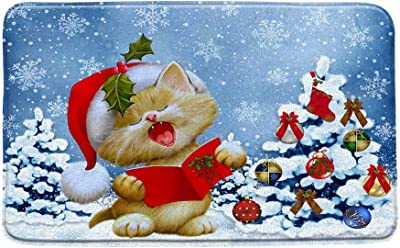 """AMHNF Christmas Cat Bath Mat Lovely Kitten Kitty Reading Card Colorful Xmas Tree Blue Sky Snowflake Winter Funny Bathroom Decor Rug Absorbent Doormat Kitchen Toilet Floor Rug,19.7"""" x 31.5"""""""