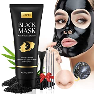 Blackhead Remover Mask Kit, Charcoal Face Mask, Peel Off Face Nose Mask with Face Mask Brush Pimple Extractors, Deep Clean...