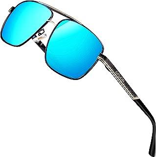 SIPLION Men's Driving Polarized Rectangular Square Sunglasses Metal Frame