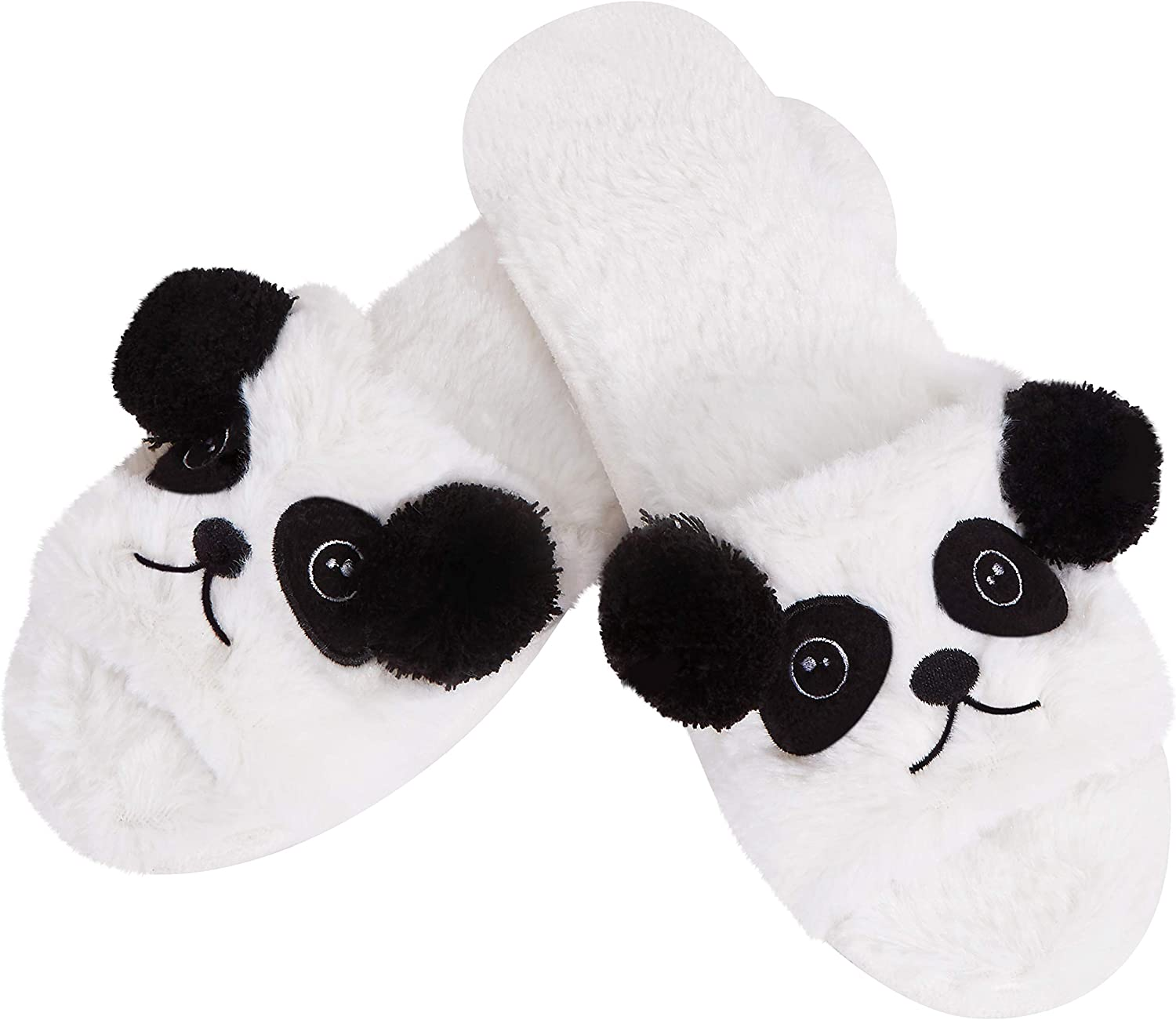 Sanfiago Open Toe Cute Panda Slippers for Women Warm Fluffy Fur Memory Foam Shoes for Girl Non-Slip Sole Indoor Outdoor Gift for Women on Birthday Valentine's Day