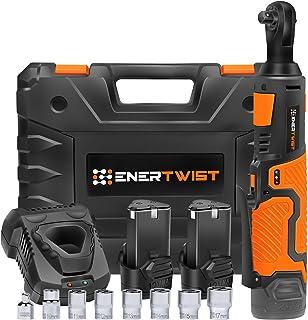"Enertwist Cordless Electric Ratchet Wrench Set, Upgraded 3/8"" 12V Power Ratchet Tool.."