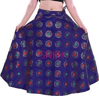 SNEH Women's Brocade Multicolor Gold Print Skirt (Blue,Free Size)