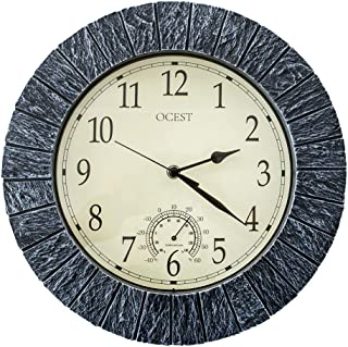 OCEST Large Wall Clock, 13 Inch Indoor Outdoor Clock Waterproof with Thermometer Large Display Silent Non-Ticking Battery Operated Modern Decor Clock for Bathroom Living Room Kitchen Pool Patio Garden