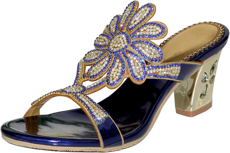 LizForm Open Toe Sun Flowers Front Strap Dress Sandals Slip On Dress Low Heel