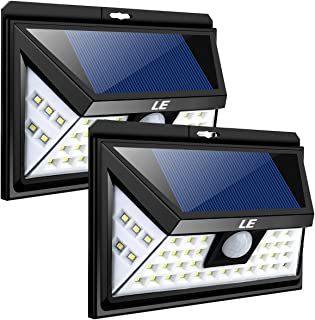 LE 44 LED Solar Powered Lights Outdoor with Motion Sensor, 3 Optional Lighting Modes, 270 Degree Angle, Daylight White 6000K, 4W 550LM, for Garden, Fence, Driveway, Front Door and More, Pack of 2