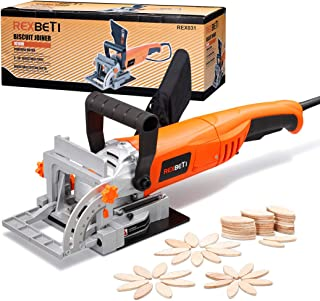 REXBETI Wood Biscuit Plate Joiner Kit with 4 Inch Tungsten Carbide Tipped Blade and 100pcs Wood Connecting Plates, Adjustable Fence and Angle Knob for Precise Positioning, Suitable for All Wood Type