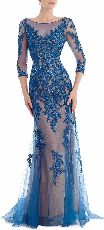 YIRENWANSHA 2018 Elegant Beaded A Line Scoop Neck Long Sleeve Evening Dress Formal Party Gown SHEV12