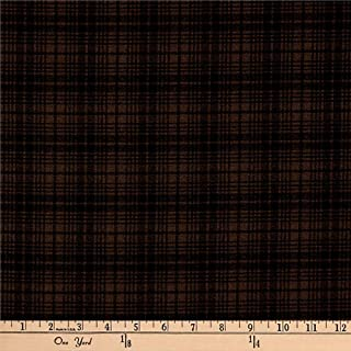Benartex Another Moose is Loose Wool Plaid Brown Fabric