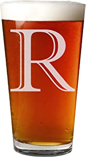 Etched Monogram 16oz Pint Glass for Beer or Soda (Letter R)
