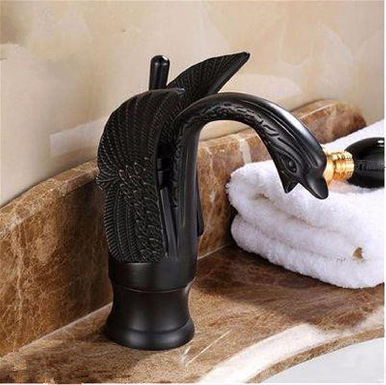LHbox Basin Mixer Tap Bathroom Sink Faucet Continental antique swan shape cold water ceramic valve single hole Single Handle bathroom basin, blackAntique low