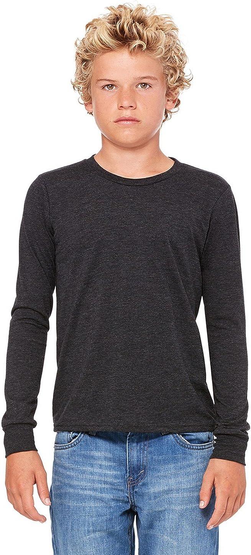 Bella boys Jersey Long-Sleeve T-Shirt(3501Y)-CHAR-BLK TRIBND-L