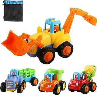 AMILE - Set de juguetes para niños con diseño de fricción para coches, vehículos de construcción Push and Go, 4 piezas de juguetes para niños de educación temprana, tractor, bulldozer, camión mezclador de cemento, parachoques para 1 2 3 años de edad