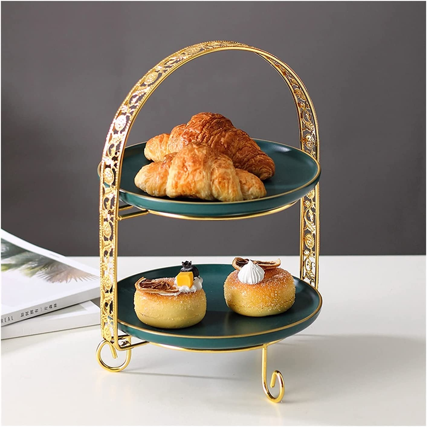 Cupcake Holder Ceramic Cake Stand Table Ha Two-tier with Dessert Discount mail Long-awaited order