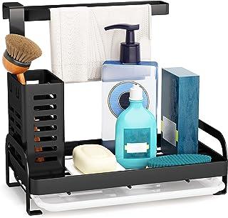 Sink Caddy Organizer, 1Easylife Sponge Holder Brush Dishcloth Holder Hanger Kitchen Sink Caddy Black Countertop with Drain...