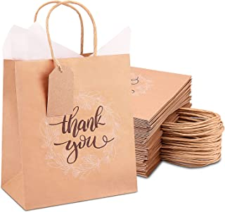 Thank You Gift Bags Bulk 50 Pcs Medium, Brown Kraft Paper Bags with Handles, Tissue Paper, and Hang Tags for Retail Shoppi...