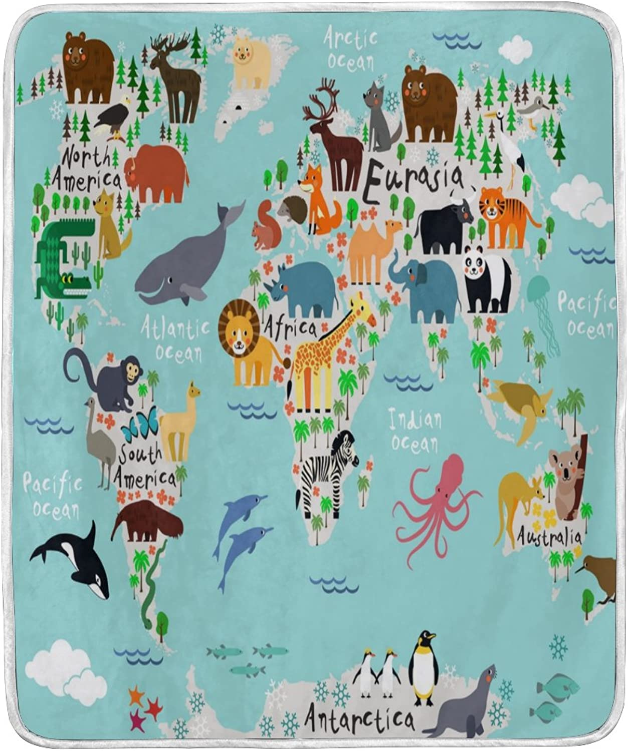 Cooper girl World Map Animal Throw Blanket Soft Warm Bed Couch Blanket Lightweight Polyester Microfiber 50x60 Inch