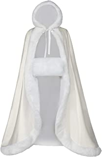 VILETKE Wedding Cape Women Hooded Cloak for Bride Reversible with Fur Trim & Hand Muff