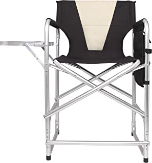 Tall Folding Directors Chair Portable Camping Chair Lightweight Aluminum Frame with Armrest Side Table, Storage Bag, Footrest-Supports 300lbs, 24
