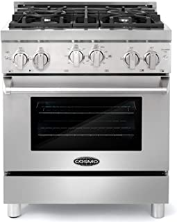 Cosmo GRP304 30 in. Freestanding/Slide-in Gas Range with 4 Sealed Burner Rangetop, Rapid Convection Single Oven, Heavy Duty Metal Knobs & Cast Iron Grate in Stainless Steel