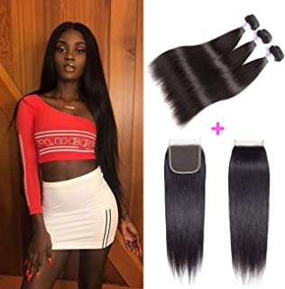 AMZTMY Brazilian Straight Virgin Hair 3 Bundles With Free Part Closure 100% Unprocessed Hair Extensions Remy Human Hair Weft Weave With 4×4 Lace Closure Natural Color (18 20 22+16 inch)