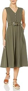 Calvin Klein Women's V-Neck Midi Dress with Center Button Bodice and Belt