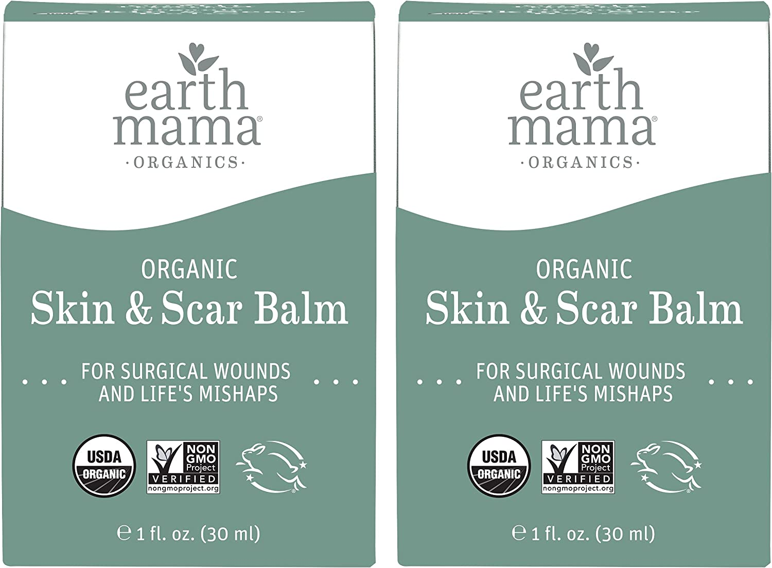 Organic Skin & Scar Balm by Earth Mama Reduces the Discomfort and Appearance of C-Section Scars and Pregnancy Stretch Marks, 1-Fluid Ounce (2-Pack)