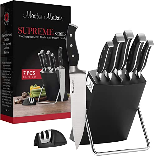 2021 7-Piece new arrival Premium Kitchen Knife Set With Wooden Block | Master Maison German online Stainless Steel Cutlery With Knife Sharpener (Black) online sale