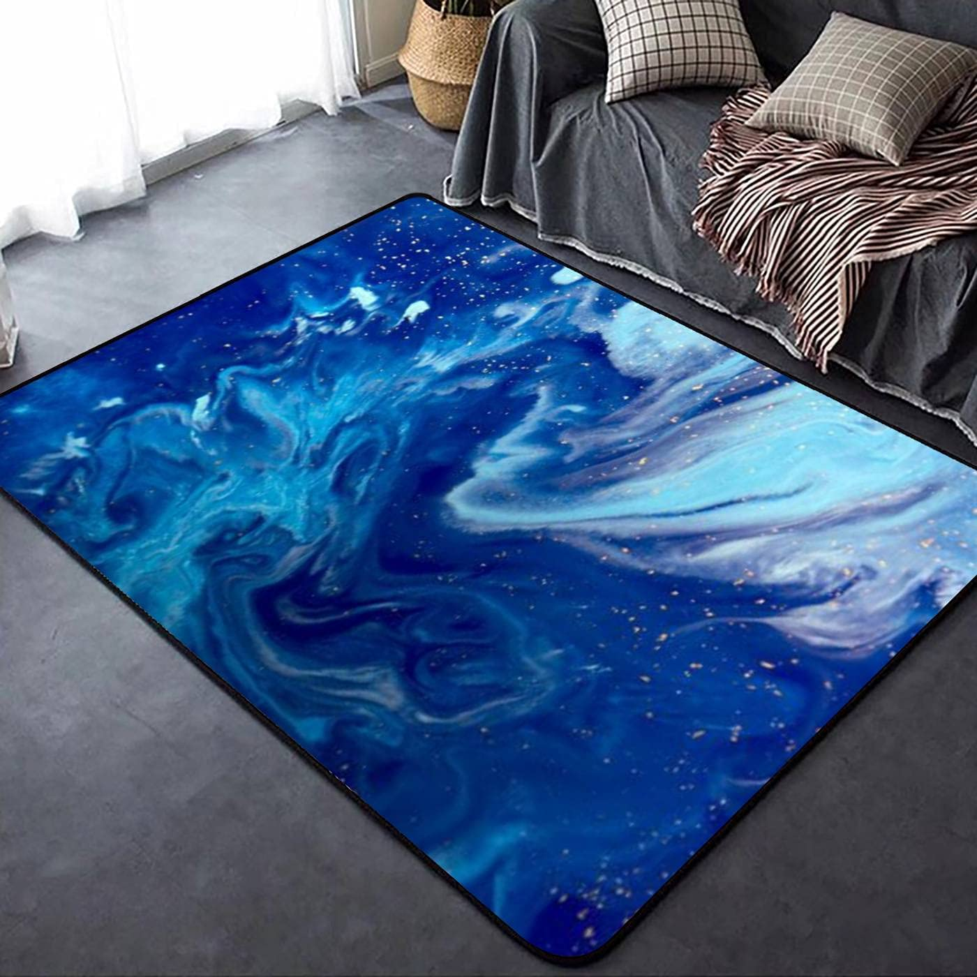 Marbled Blue Abstract Golden Max 42% OFF Sequins Rugs Marble Liquid Soft Ink Superior