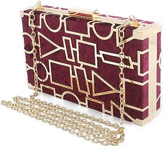 ileibmaoz Abendtasche Damen Clutch Goldenes Metall Aushöhlen Stil Frauen Abendtaschen Samt Klappe Design Tag Clutch Handta...