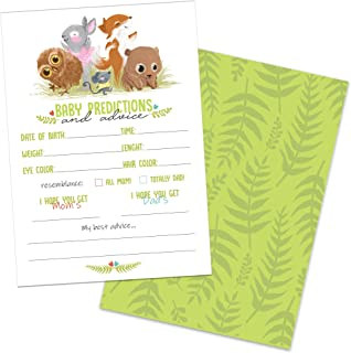 50 Woodland Baby Shower Prediction and Advice Cards Game for Girl or Boy by Whatabee