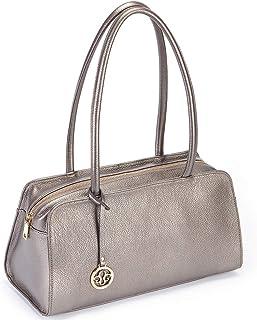 Leather Satchel Handbag for Women Purses and Handbags Top Handle Small Tote Shoulder Bag Silver Gray