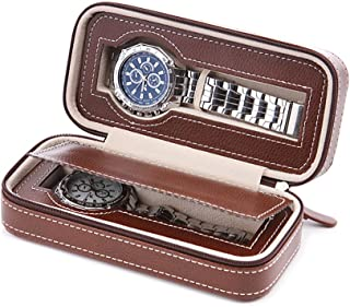 Aco&bebe House Black Zippered Watches Box Travel Case - Watch Organizer Collection - Top Grade Carbon Fibre PU Leather (Coffee-2 Slots)