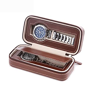 Aco&bebe House Black Zippered Watches Box Travel Case - Watch Organizer Collection - Top Grade Carbon Fibre PU Leather