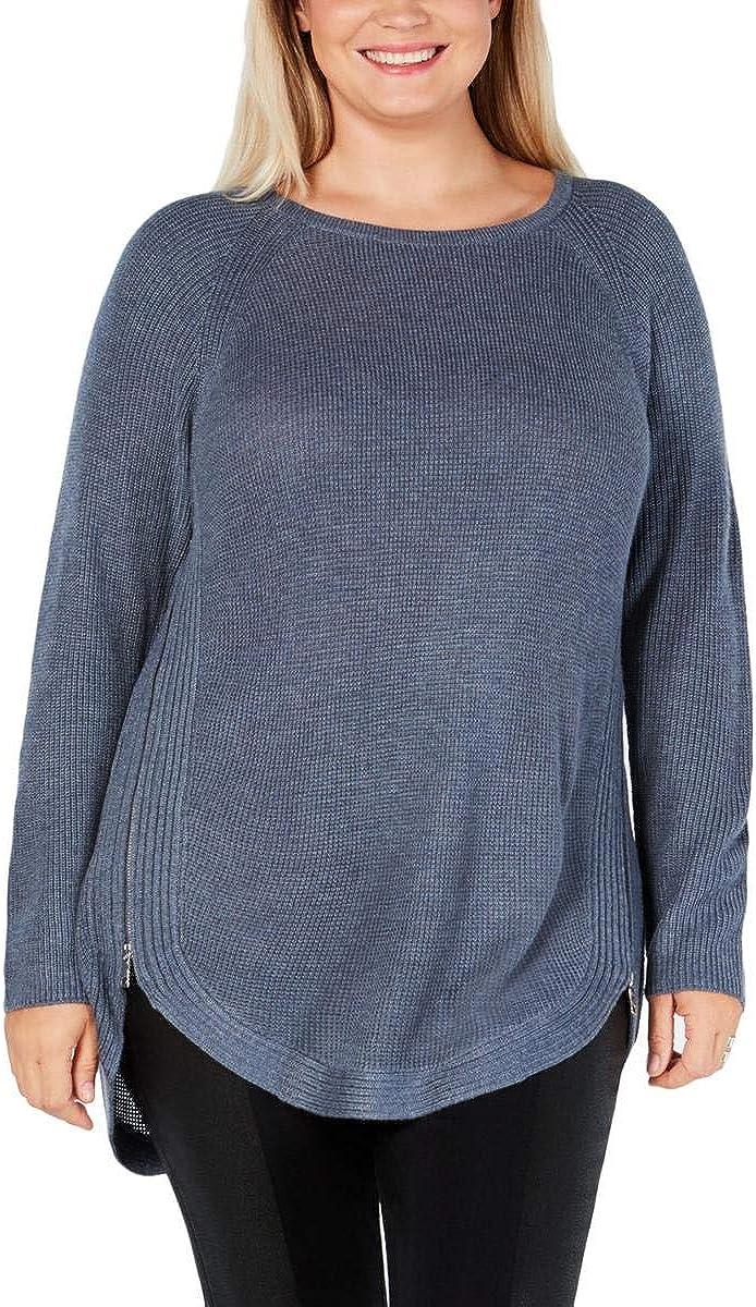 INC Women's Plus Size Zipper Trim Waffle Knit Pullover Sweater Blue Size 1X