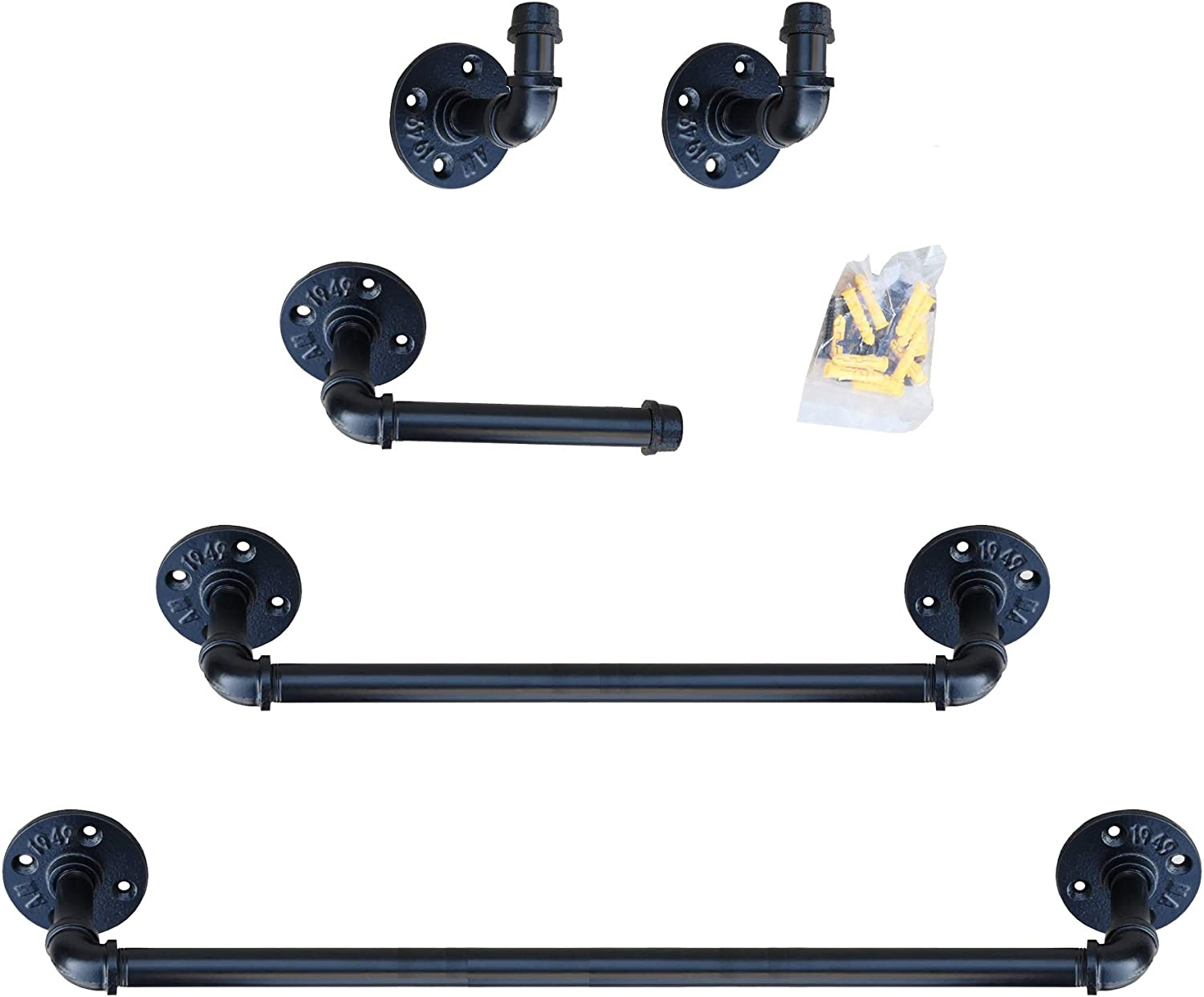 Industrial Pipe Bathroom Hardware Fixture Set   Bathroom Accessories Set - 5-Piece Kit Includes Robe Hook, 24 & 18 Inch Bath Pipe Towel Rack Bar and Toilet Paper Holder,Coated Finish