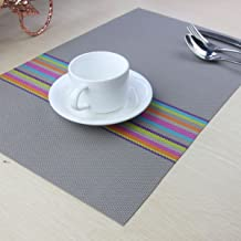 YO FUN Multicolored Strips Placemats Dinner Table Place Mats PVC Table Mats Set of 4 Heat Resistant Washable Placemat Set 45x30CM for Christmas Decoration, Grey